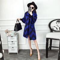 春季新款女名媛撞色波浪纹中长款毛呢外套+包臀半身裙套装