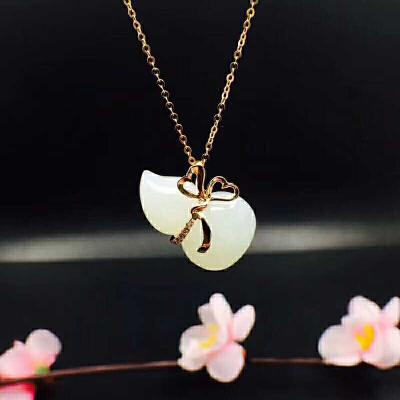 18K金镶嵌天然和田白玉葫芦吊坠(不含项链)【FII】