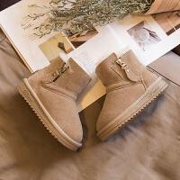 儿童雪地靴女童短靴子2018新款冬季男童皮面保暖靴加绒加厚潮