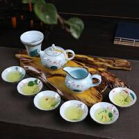 青瓷陶瓷茶具手绘荷花莲花整家用功夫茶具套装盖碗茶壶茶杯景德镇工艺品