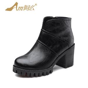 【冬季清仓】阿么韩版复古粗跟马丁靴女高跟英伦单靴防水台踝靴短靴子