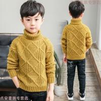 男童冬装高领毛衣加厚2018新款童装儿童中大童毛衫套头打底衫保暖 黄色