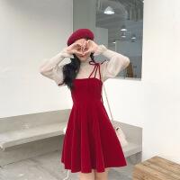 甜美少女心吊带裙两件套气质微透网纱打底衫大红色连衣裙秋冬套装