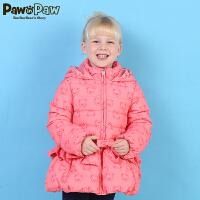 【2件3折 到手价:389】Pawinpaw宝英宝小熊童装冬季款女童白鸭绒连帽蓬蓬羽绒服儿童外套