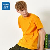 真维斯男装 夏季新款 时尚平纹圆领印花短袖T恤