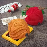 儿童帽子男潮冬季保暖针织毛线帽女婴儿护耳帽宝宝帽子1-2岁秋天
