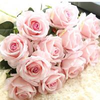 干花花束摆件摆设花艺单支仿真玫瑰花假花套装高档客厅餐桌装饰花