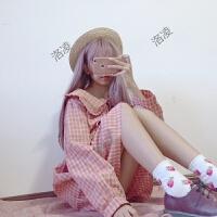 春装女装韩版日系软妹格子长袖娃娃裙裙子可爱系带宽松连衣裙学生