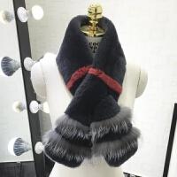 整皮獭兔毛围巾狐狸毛皮草围巾女季加厚拼接百搭保暖围巾 灰色围巾(獭兔加银狐毛)