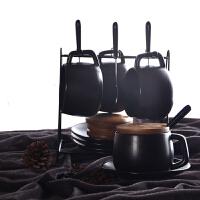 20180924203735009黑磨砂咖啡杯带盖带勺欧式下午茶茶具套装家用简约办公室陶瓷杯 4杯4碟4勺4盖子 配原黑