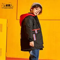 【2件3折到手价:296.7元】小虎宝儿男童冬季羽绒服2019新款秋冬装儿童洋气白鸭绒中长款外套