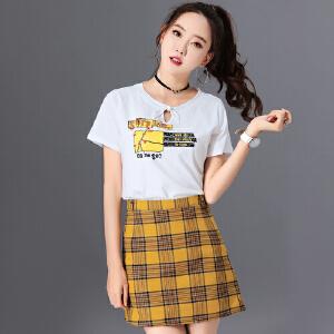 SOOSSN 2018新款V领长袖t恤修身显瘦露肩设计打底衫上衣女秋装6063