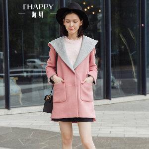 海贝2017冬装新款女装 连帽长袖中长款高腰开叉羊毛呢大衣外套