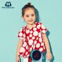 迷你巴拉巴拉女童儿童短袖衬衫新款大波点宽松韩版短袖衬衫