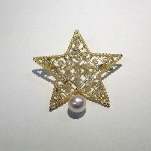 镶嵌日本Akoya珍珠星形项坠胸针两用