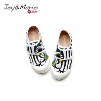 jm快乐玛丽童鞋2018春季卡通魔术贴儿童鞋复古平底亲子鞋子63161C