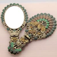 化妆镜台式公主便携手柄折叠镜子仿铜镜子