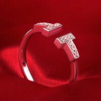 T款开口戒指女钻戒女简约饰品S925银结婚求婚戒指女 材质925银镀白金 8号-22号 现货即发