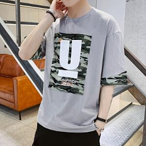 短袖t恤男2019夏季新款学生男装韩版圆领夏装潮流男士五分袖衣服