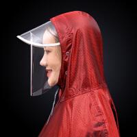 双帽檐电动车摩托车雨衣面罩式雨衣头盔双人雨衣雨披