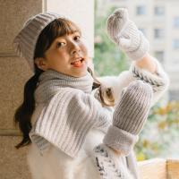韩版学生秋冬季保暖女针织帽子围巾手套一体三件套保暖加厚礼盒装