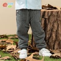 贝贝怡男童裤子春秋款新款宝宝条纹洋气休闲裤加绒卡通长裤194K474