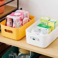 日式桌面收纳盒家用塑料杂物零食整理筐化妆置物盒厨房浴室储物篮