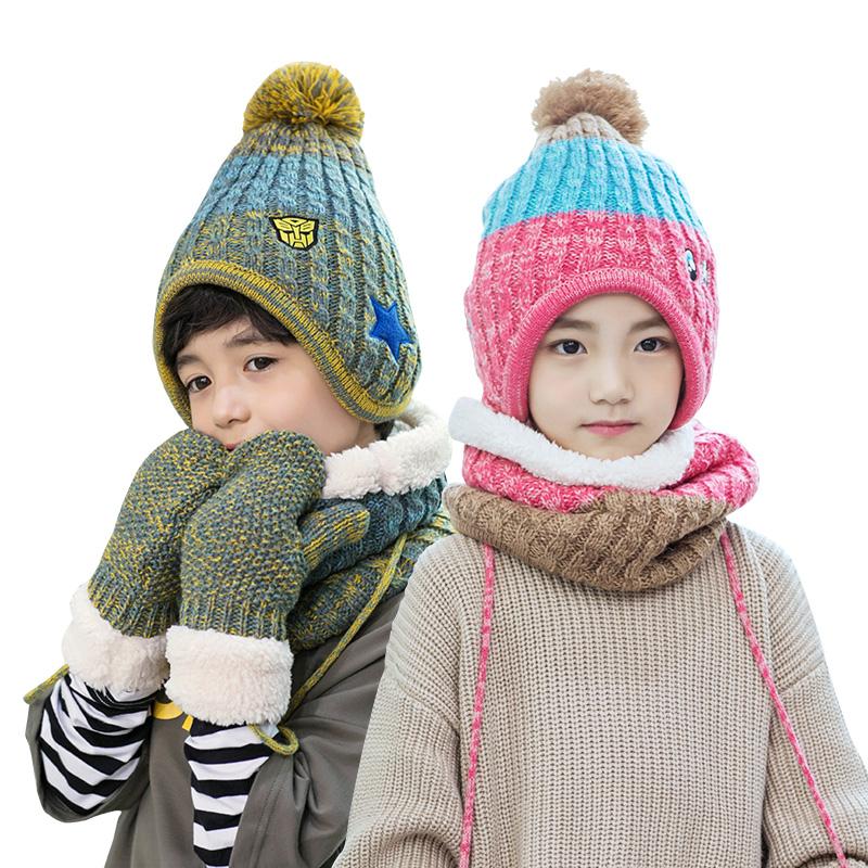 kk树时尚卡通宝宝帽子秋冬男女童帽子围巾套装一体小孩保暖护耳帽 亲肤柔软 多色可选