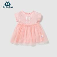 【2件3.8折】迷你巴拉巴拉婴儿连衣裙2019年夏新品儿童女裙子假两件网纱裙长裙