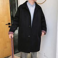 冬季新款ins中长款帅气加厚风衣男士韩版英伦宽松毛呢大衣外套潮