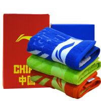 李宁毛巾(lining)羽毛球网球专业健身运动毛巾 加长吸汗毛巾 AMJJ014蓝色390mm*780mm