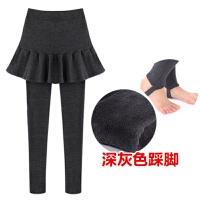打底裤裙女士秋冬季新款加绒加厚假两件裤女外穿百褶大码紧身连裤裙