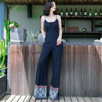 20180402369夏季新品女装休闲连衣连体长裤子高腰阔腿裤女裤 图片色XZB611