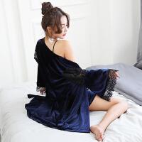 带胸垫蕾丝吊带睡裙睡袍女士冬季金丝绒性感睡衣女冬长袖两件套装 藏蓝
