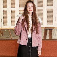 冬装新品 滩羊毛领灯芯绒夹棉夹克衫短外套女D742865W00