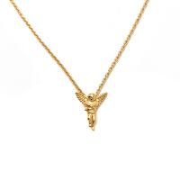 欧美风时尚复古天使翅膀信仰爱情丘比特十字架吊坠圆珠细项链男女 小天使 金色