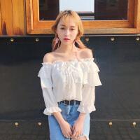 春装2018新款韩版女装露肩纯色一字领上衣双层荷叶边系带雪纺衫潮