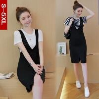 背带裙套装裙韩版夏季包臀连衣裙时尚中长款裙子夏天女装两件套潮
