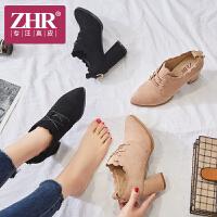 ZHR2018春季新款尖头单鞋chic小清新高跟鞋英伦风女鞋粗跟休闲鞋K77