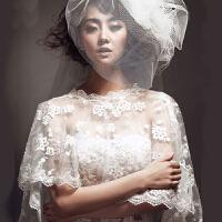白色婚纱蕾丝披肩 新娘婚纱蕾丝遮肉披肩 胖MM婚纱蕾丝遮手臂披肩g