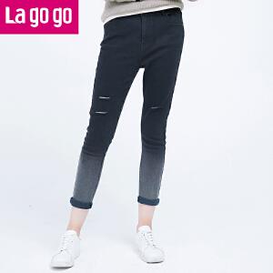 Lagogo/拉谷谷2016秋季新款经典百搭破洞设计牛仔裤