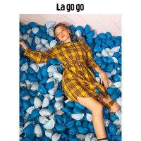 【5折价169.5】Lagogo/拉谷谷2018秋季新款日系格纹连衣裙HCLL448A31