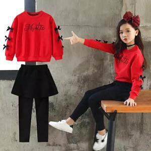 【火爆开抢】加绒款女童套装裙2019新款韩版中大儿童时髦卫衣裙裤女孩两件套运动服