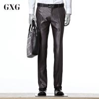 GXG西裤男装 秋装男士商务时尚休闲个性潮流灰色修身西装西裤男潮