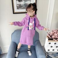 女童秋装连衣裙2018新款韩版儿童冬装裙子加厚抓绒长袖秋冬卫衣裙 粉紫色