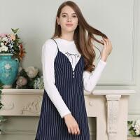 秋装新品V领吊带裙子条纹无袖蕾丝摆连衣裙女D736067L4