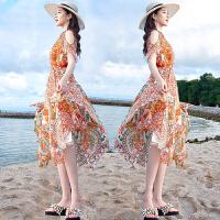 【领券下单立减100元 仅限今日】波西米亚长裙2018新款沙滩裙海边度假女夏印花显瘦裙子雪纺连衣裙