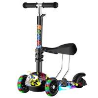 滑板车儿童男孩脚踏车滑滑溜溜车2-3-6-12岁小孩三四轮闪光