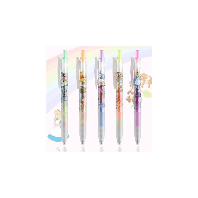 日本ZEBRA斑马JJ75不可思议中性笔彩色新品限定迪士尼绘图水笔渐变色按动做笔记梦幻彩虹混色JJ29学生用文具 迪士尼限定彩虹笔