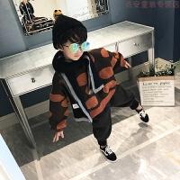 男童秋装套装洋气2018新款韩版儿童加绒加厚潮衣中大童时尚两件套 波点